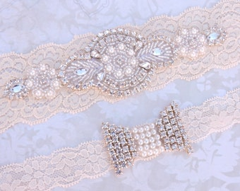Wedding Garter Set - Vintage Ivory Lace Garter with Pearl and Rhinestone Applique - Garter Toss