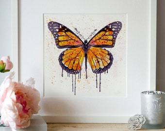 Monarch butterfly Watercolor painting Wall art Square art Insect art Aquarelle Butterflies decor Printable art Splashes Watercolor printable