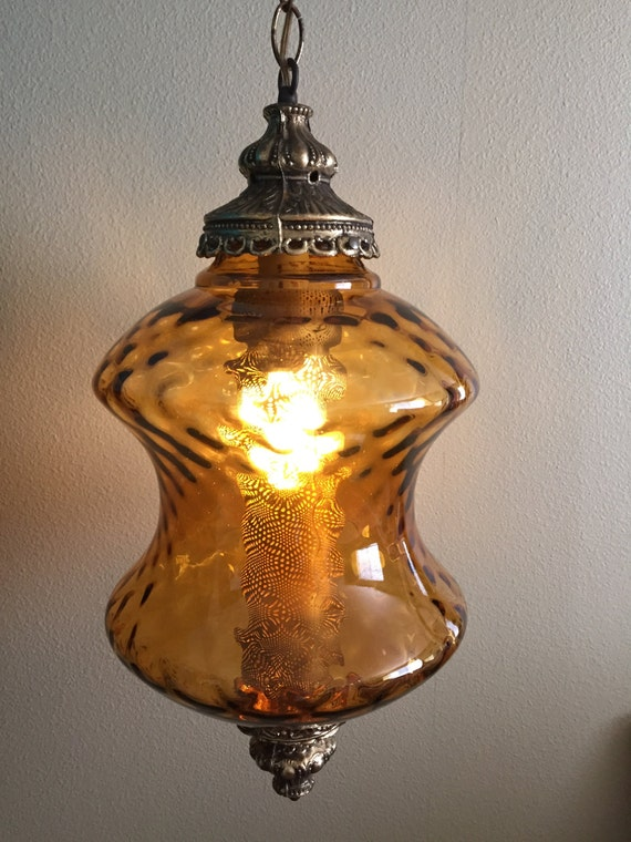 Vintage Amber Glass Swag Light Light Fixture Mid Century