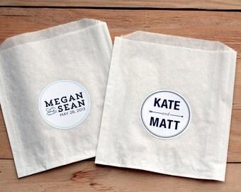 50 Custom Wedding Stickers / Favor Bags / Personalized Stickers / Paper Bags / Wedding Favor / Cookie Bags / Custom Stickers / Donut Favor
