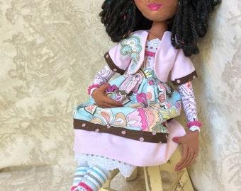 Art Doll Textile Ethnic OOAK face girls 6 up heirloom gift