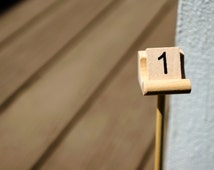Scrabble Table Number Sticks for Centerpieces | Wooden Sudoku Number Tiles on a Stick | on an Authentic Scrabble® Holder