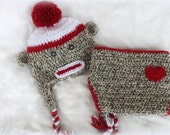 Sock Monkey Hat & Diaper Cover Set - Baby Crochet Outfit - Boy or Girl - Photo Prop - Gender Neutral Prop - Baby Prop Outfit
