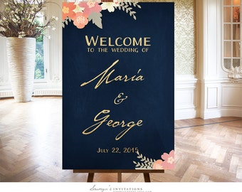 Wedding Welcome Sign, Gold and Navy Welcome Sign, Dark Blue Wedding Reception Sign, Personalized Printable Wedding Sign, Party Welcome Sign