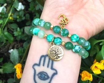 Fire Green Agate Stretch Bracelet Set