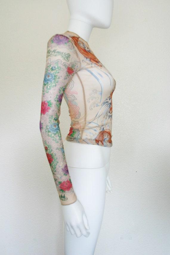 90s sheer mesh tattoo shirt coy fish asian floral print top for Mesh tattoo shirt