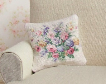 Dollhouse Miniature, Floral Bouquet Cushion, Dolls House Pillow, Soft Furnishings, Shabby Cottage Chic, Vintage Style, 1:12th Scale