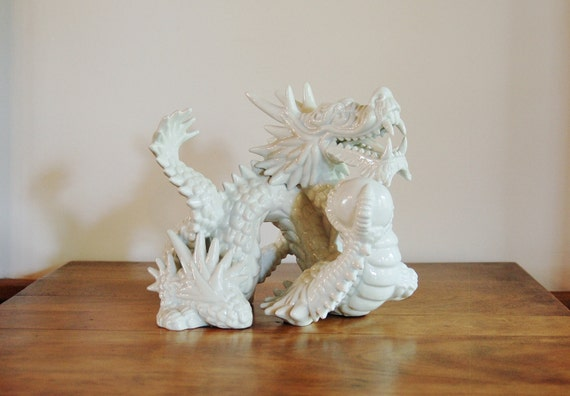White Porcelain Dragon Figurine By Fitz And Floyd Asian