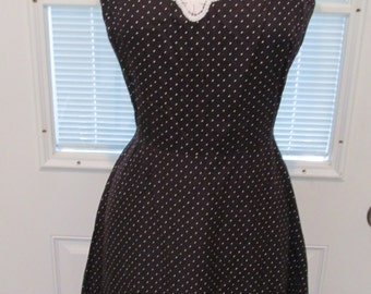 80's Black with White Polka Dots Sun Dress by Julie Miller of California Size 12