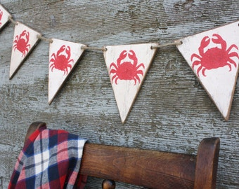 FREE SHIP Wood Crab Shack Banner Pennant Garland Tags Signs
