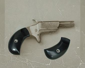 Sale Vintage Miniature Mini REVOLVER Pistol GUN GRIPS Black Plastic Gun Parts Supplies