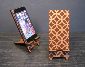 Wood Phone Stand Docking Station 5 Sizes for iPhone 6, iPhone 6 Plus, iPhone 5, iPhone 4, Samsung Galaxy, Universal - Hollywood Regency