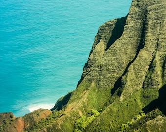 "Hawaiian Art, Kauai, Na Pali Coast, Hawaii Photography, Green Hawaii Print, Blue, Hawaii Landscape, Kauai Mountains, Napali - ""Kauai Mauna"""