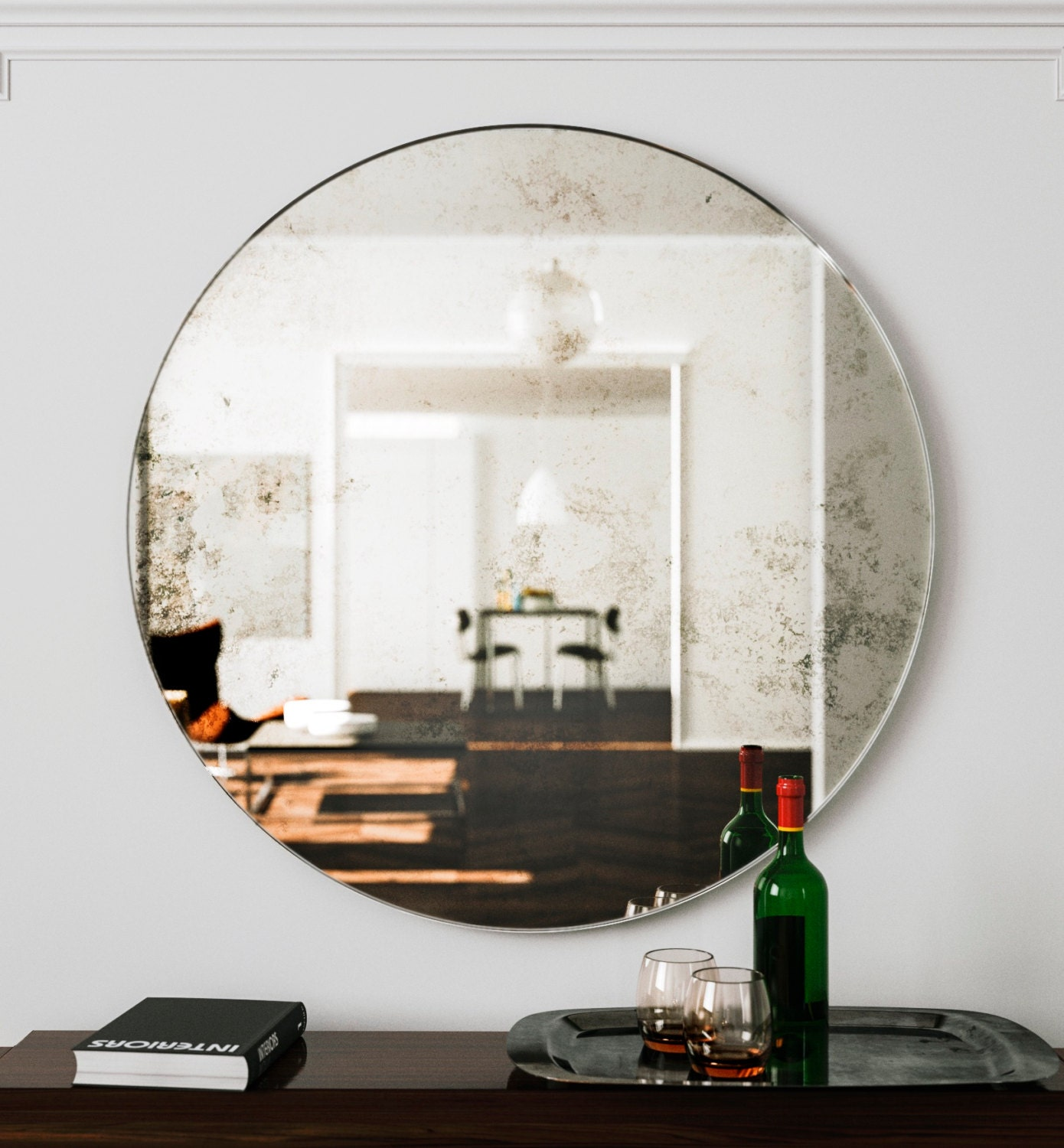 Oversized Round Wall Decor : Large wall mirror unique round art deco hanging glass
