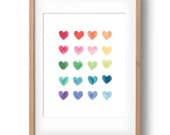 Watercolour Hearts, Rainbow Art Print, Custom Art, Gift for Girls, Housewarming Gift, Printable Art, Nursery wall decor: INSTANT DOWNLOAD