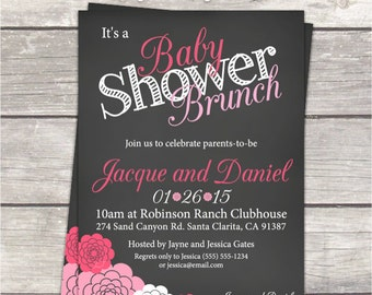 Baby Shower Brunch Invitation In Chalkboard, Hot Pink Light And Pink  Flowers, Digital Printable