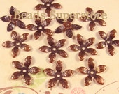 15 mm Antique Copper Bendable Flower Bead Cap - Nickel Free and Lead Free - 50 pcs