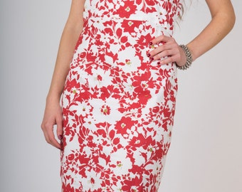 50% SALE! Organic Cotton Knee Length Dress Red Floral Print GOTS Certified