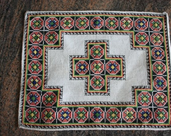 Antique cross stitch stunning tabletop Wall hanging Hungarian traditional  handmade hand woven linen rare fine embroidery One of a Kind