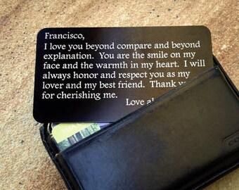 Personalized Wallet Card, Metal Wallet Insert, Love Note, Custom Wallet Insert: Valentine's Day, Anniversary, Wedding