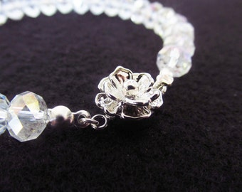 7.5 Inch Crystal Flower Bracelet - White / Clear Crystal Bracelet - Silver Flower Clasp Bracelet - Handmade Jewelry - Birthday Gifts for Her