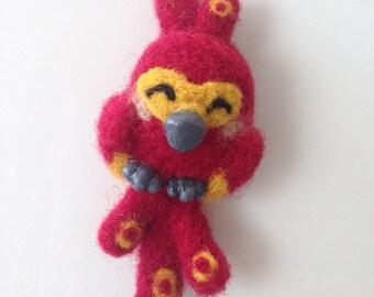 Needle Felted Fawkes Phoenix Magnet