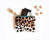 Leopard Leather Pouch, Leopard Zipper Coin Purse, Leather Calf Hair Bag, Cheetah Coin Purse, Calf Hair Mini Purse, Leopard Pouchette