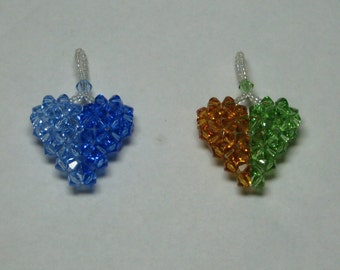SWAROVSKI CRYSTAL 3-D Puffy Heart Pendant in Peridot and Topaz, Side by Side Two Tone Colors