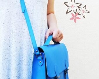 Leather Satchel Bag/ipad Bag/Genuine Leather Briefcase/Blue/Pink/Pistachio/Greek Messenger Bag/Adjustable shoulder carry