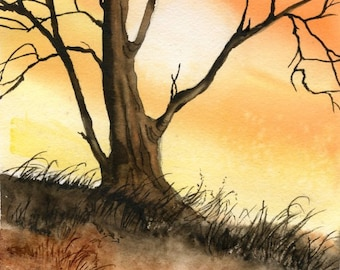 ORIGINAL WATERCOLOR PAINTING; art, scene, tree, wall art, nature, gift for any occasion, Canadian art, 7 x 10 inches