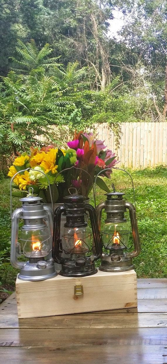 Railroad lantern wedding centerpieces by