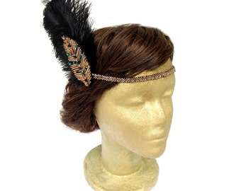 1920s Feather Headdress, Leaf headband, Flapper Fascinator, Feather Headband, Great Gatsby party, Burlesque Headpiece