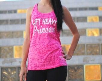 Lift Heavy Princess Tank Top. Workout Tank. Cross Training Tank. Lift Heavy Womens Burnout Tank. Gym Tank. Cross Training Lift Heavy Shirt