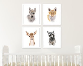 Woodland Print Set, Woodland Nursery Art, Baby Animal Art, Wildlife Portraits, Woodland Decor, Fox, Raccoon, Rabbit, Wolf, Deer, Bear