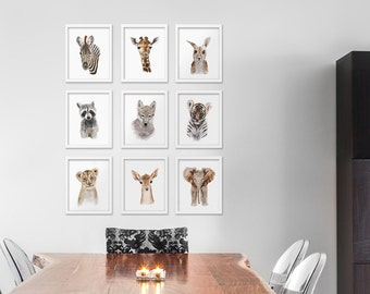 Animal Art Print Set, Giclee Prints, Home Decor, Wildlife, Fine Art Prints, Wall Art, Set of 9 Prints, Gray, Brown, Watercolor, Minimalist