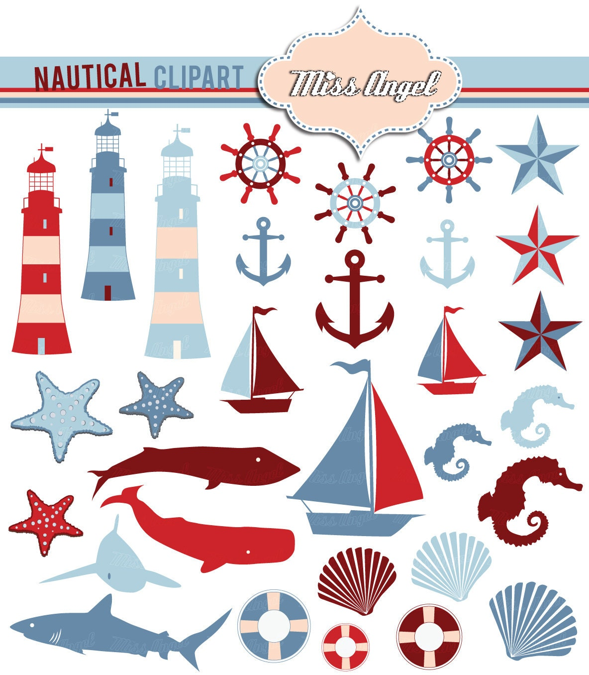 Nautical Clipart Blue Red. 31 Digital scrapbook nautical