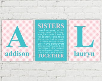 Twin girls nursery art | girls playroom decor | twin sisters monogram art | sisters bedroom decor | plaid pink teal nursery wall art prints