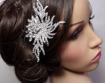 Vintage Style Bridal Hair Accessory, Bridal Comb, Bridal Crystal Wedding Comb, Rhinestone Hair Accessory, Bridal Side Comb, Back Comb - CARA