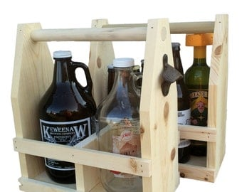 Do It Yourself Unstained Wood Beer Growler Carrier 64oz, Personalized Beer Caddy, Wholesale Corporate Gifts