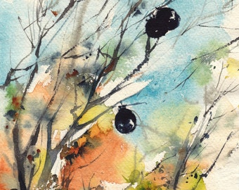 ORIGINAL Watercolor Painting, Tree Painting with Balloons, Nature Painting