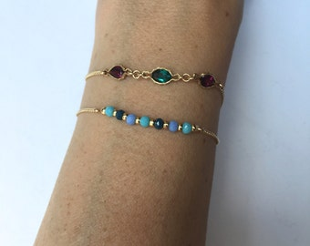 Turquoise and gold beaded bracelet, gold chain and turquoise bracelet, turquoise  gold bracelet, friendship bracelet,  blue beaded bracelet.