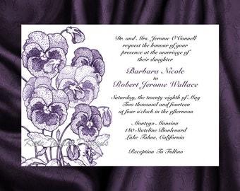 Pansy Flower Wedding Invitation & RSVP  - Floral  Wedding Invitation and RSVP - Pansy Wedding Invitation- Flower Design 10