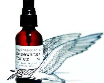 Organic Rose Water - Rose Water Toner - Organic Rose Hydrosol - Rosewater Toner - Organic Facial Toner - Natural Face Toner - Rose Toner