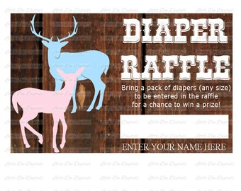 Buck or Doe Gender Reveal Diaper Raffle Printable Tickets - Instant Download