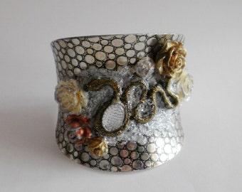 Roses and Snake Cuff Bracelet, GARDEN of EDEN Cuff Bracelet, Statement Cuff Bracelet, Snake Cuff Bracelet, Gothic Cuff Bracelet, Gothic Cuff