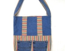 Denim and canvas tote, re-purposed and eco-friendly