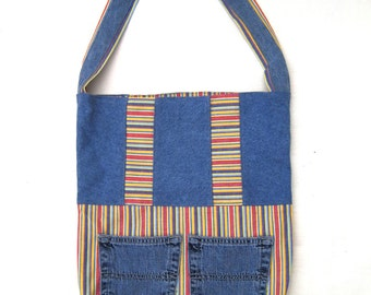 Denim and canvas tote, re-purposed and eco-friendly, recycled denim bag