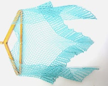 Blue crochet shawl stole summer shawl bridesmaid shawl nautical crochet lace wrap spring shawl triangle scarf swimsuit cover triangle