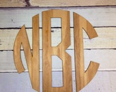 "Wall Decor for Boys Room up to 36"" Large, Circle Monogram, Wooden Monogram, Nursery Decor"