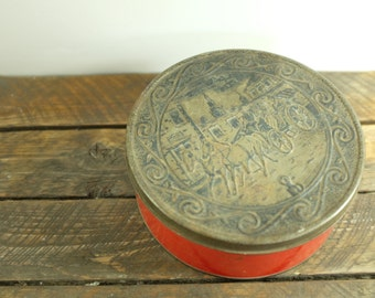 Vintage tin box from Belgium with horses and carriage - Vintage tin from Belgium - Collectible tin - Retro tin